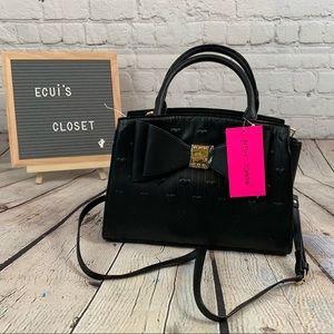 Betsey Johnson black satchel w/ bow & hearts new